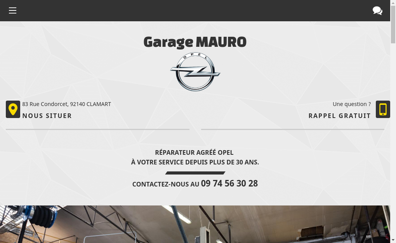 Capture d'écran du site de Garage Mauro