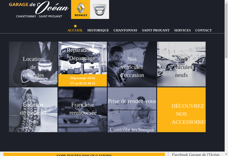Capture d'écran du site de Garage de l'Ocean