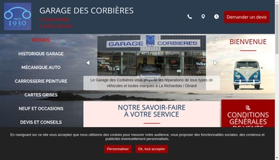 Site internet de Garage des Corbieres