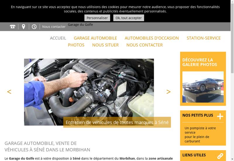 Capture d'écran du site de Garage du Golfe