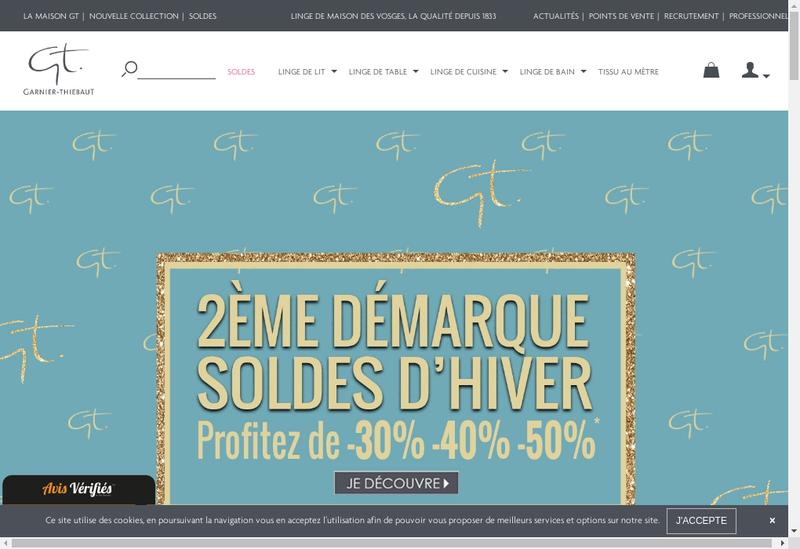 Capture d'écran du site de Societe Tissage Gerardmer Garnier Thiebaut