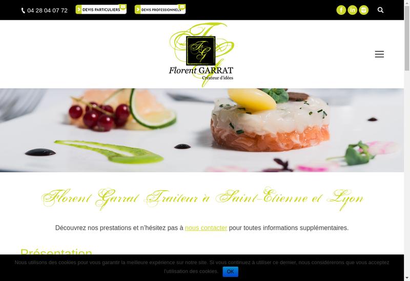 Capture d'écran du site de Garrat Traiteur