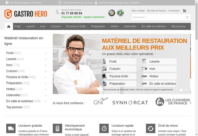 Capture d'écran du site de Gastrohero