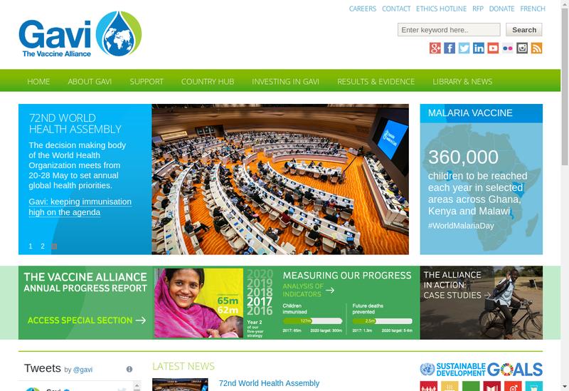 Capture d'écran du site de GAVI