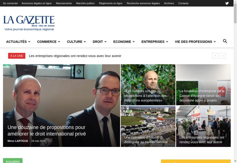 Capture d'écran du site de La Gazette Nord Pas de Calais
