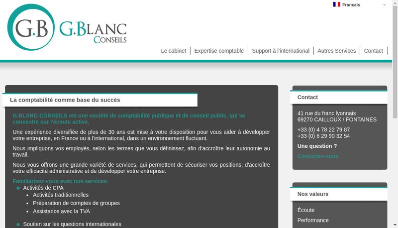 Capture d'écran du site de Gblanc Conseils
