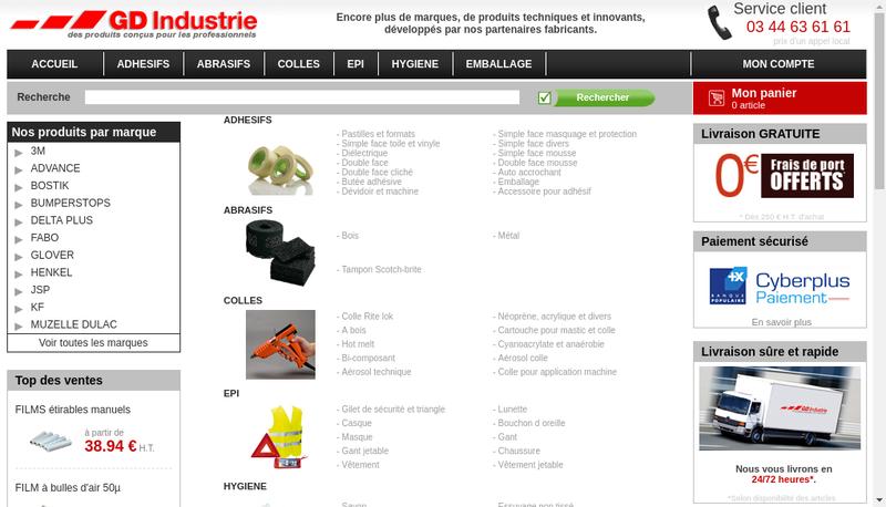 Capture d'écran du site de GD Industrie
