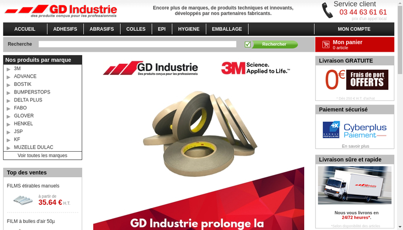 Capture d'écran du site de GD Industrie