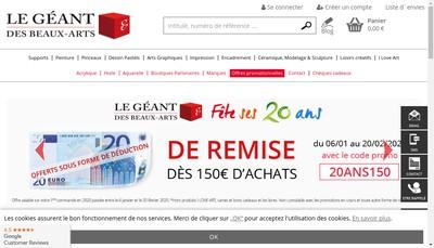 Site internet de Gerstaecker France Geant Beaux Arts
