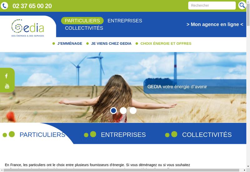 Capture d'écran du site de Gedia