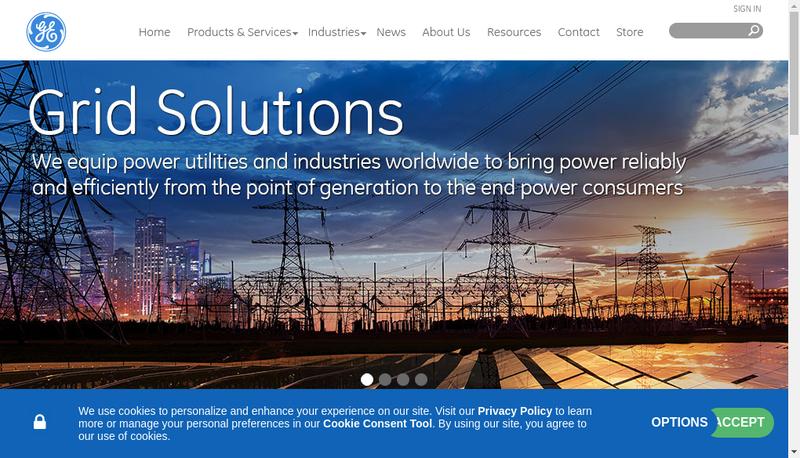 Capture d'écran du site de Grid Solutions