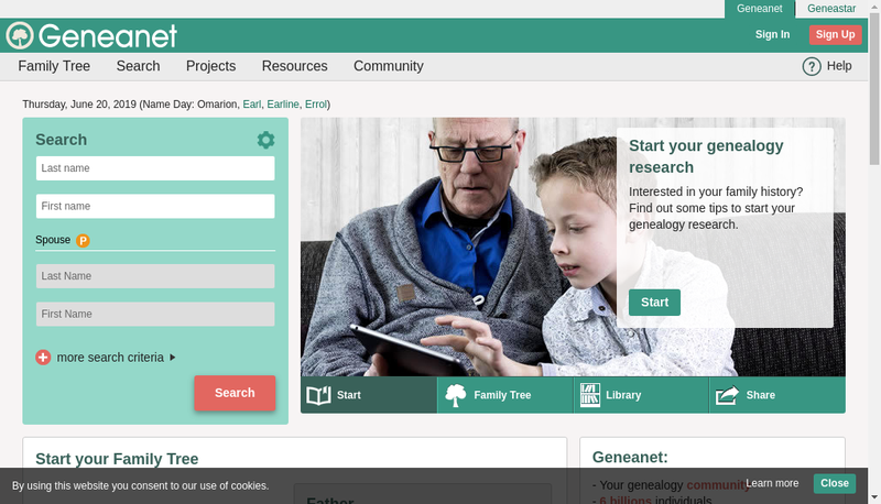 Capture d'écran du site de Geneanet