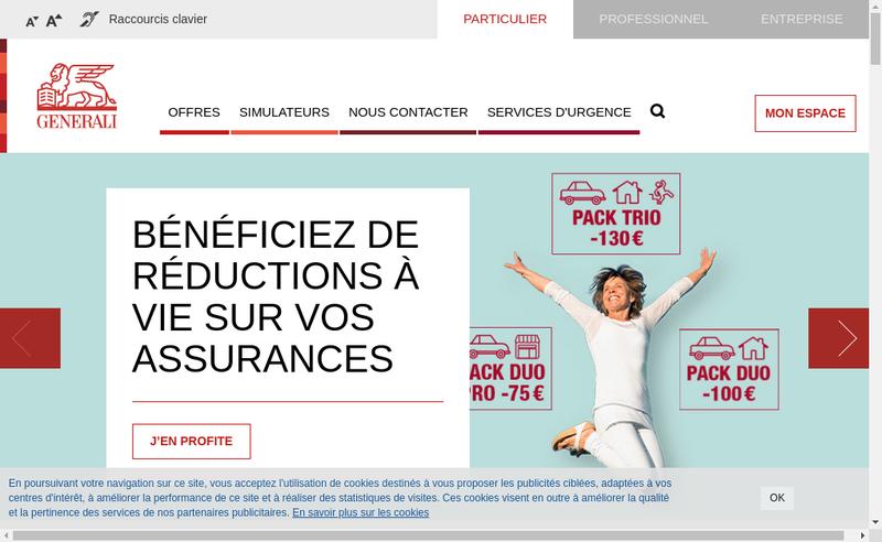 Capture d'écran du site de Assurances Generali France