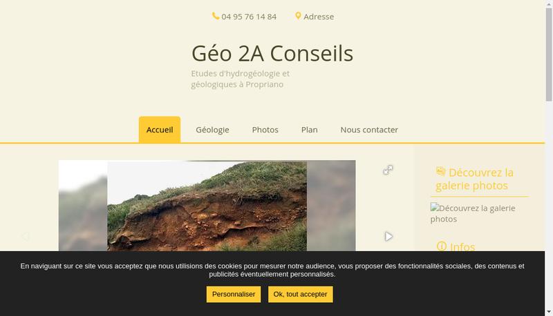 Capture d'écran du site de Geo 2A Conseils
