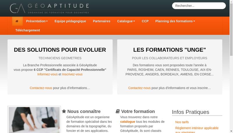 Capture d'écran du site de Geoaptitude