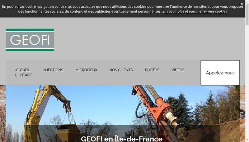 Capture d'écran du site de Geofi