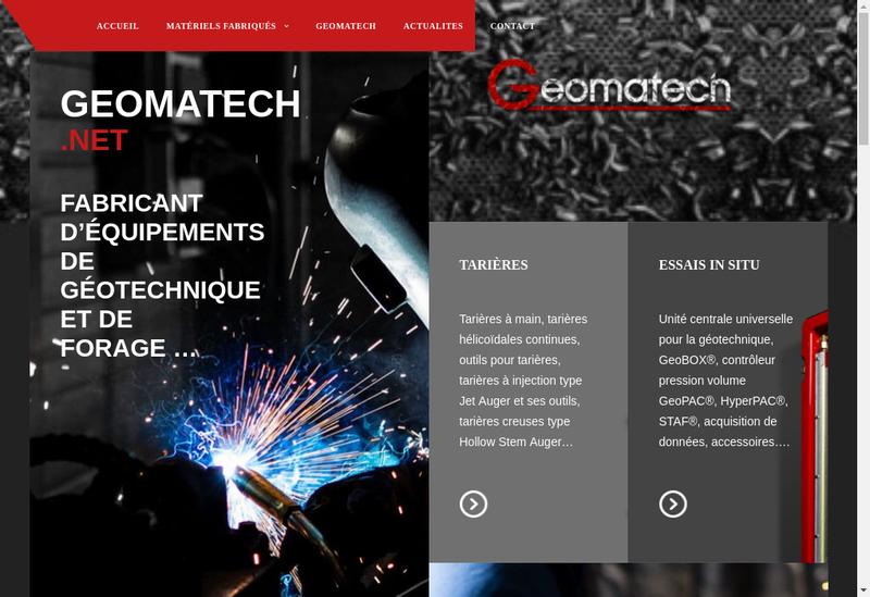 Capture d'écran du site de Geomatech