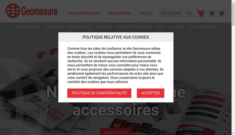 Capture d'écran du site de Geomesure
