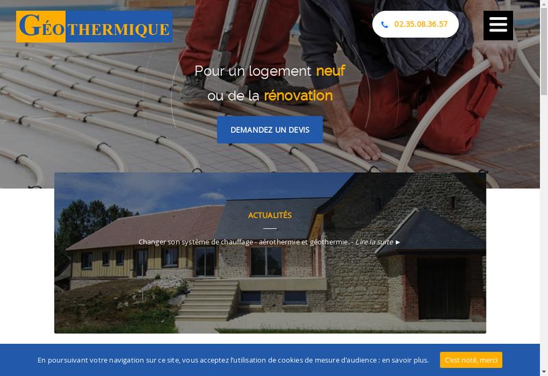 Capture d'écran du site de Geothermique