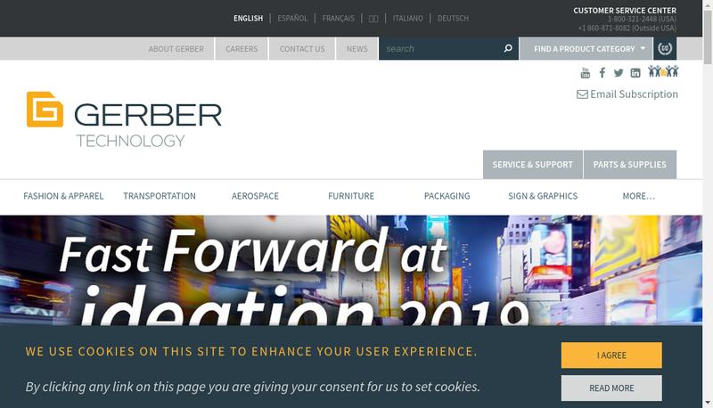 Capture d'écran du site de Gerber Technology