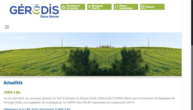 Capture d'écran du site de Geredis Deux Sevres