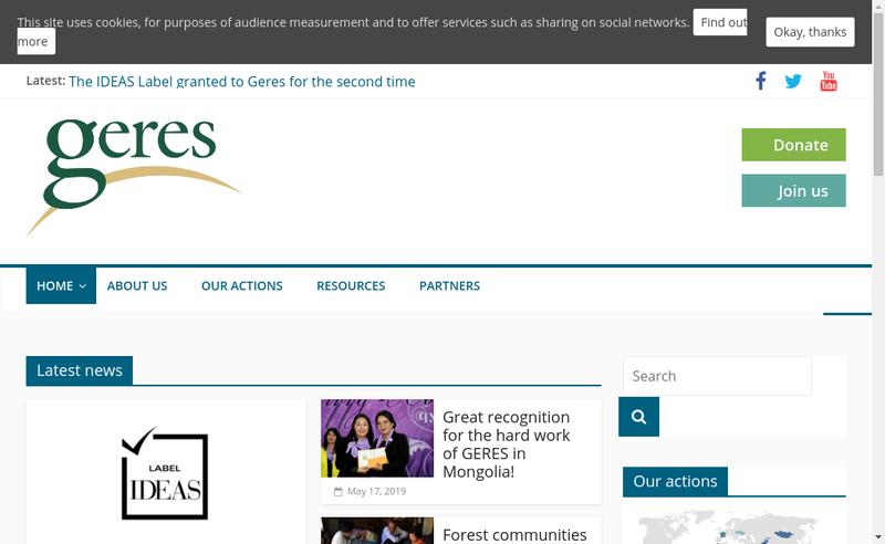Capture d'écran du site de Geres Groupes Energies Renouvelables