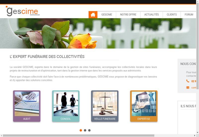 Capture d'écran du site de Gescime