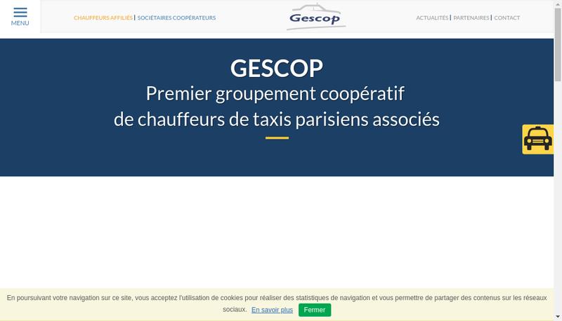 Capture d'écran du site de Taxicop