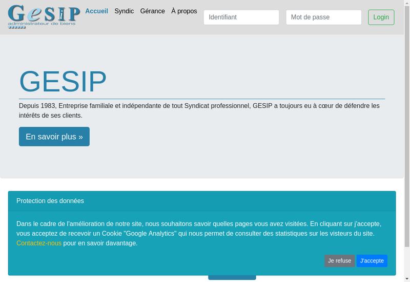 Capture d'écran du site de Gesip