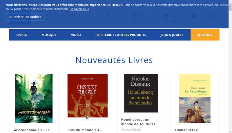 Capture d'écran du site de Gibert Joseph.com