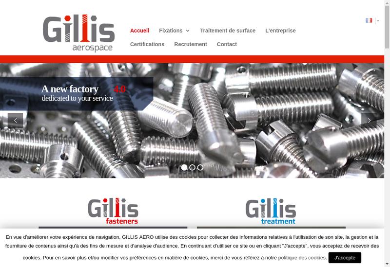 Capture d'écran du site de Gillis Aero