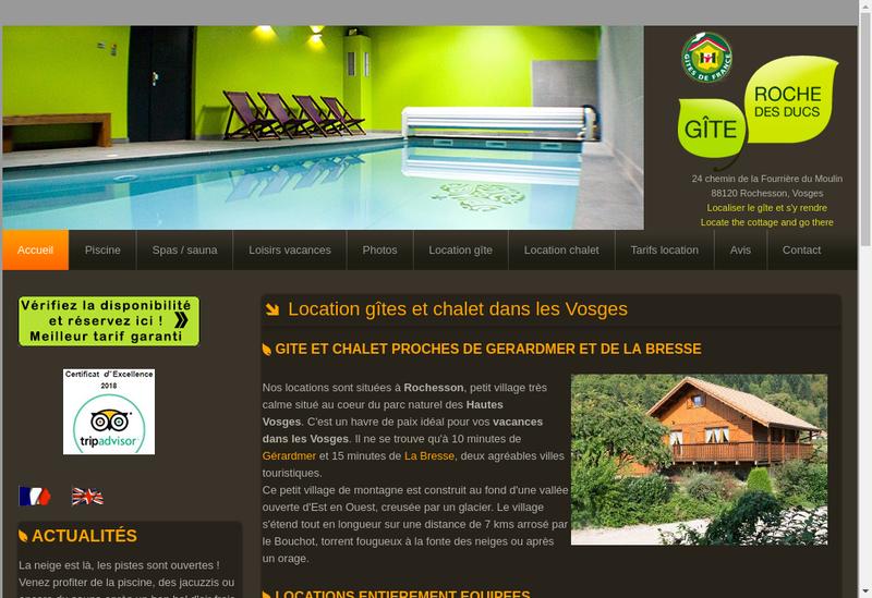Capture d'écran du site de Gite Roche des Ducs