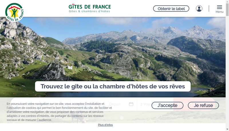 Capture d'écran du site de SAS Gites de France