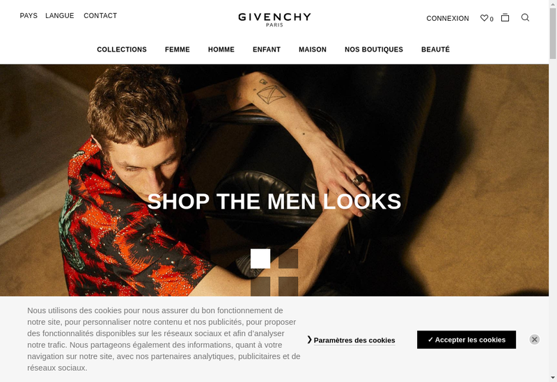 Capture d'écran du site de Givenchy