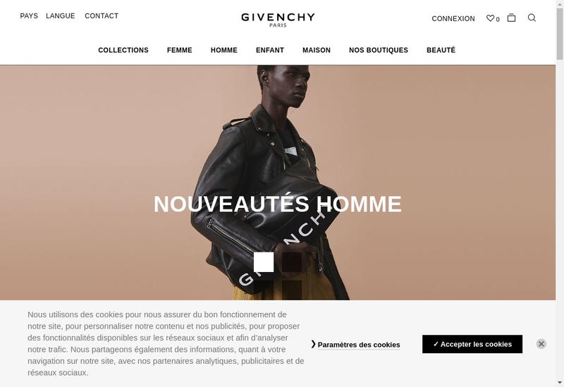 Capture d'écran du site de Givenchy