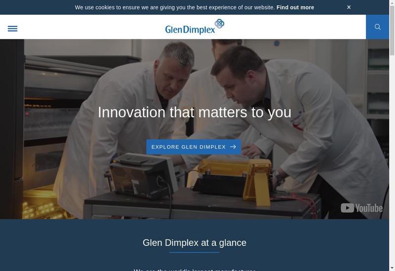 Capture d'écran du site de Glen Dimplex France