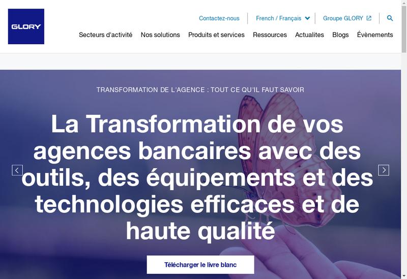 Capture d'écran du site de Glory Global Solutions France