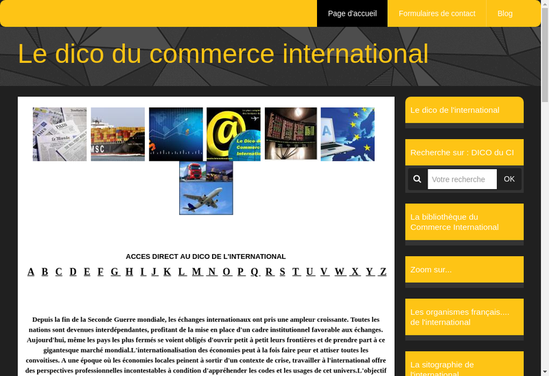 Capture d'écran du site de Arbitrage International