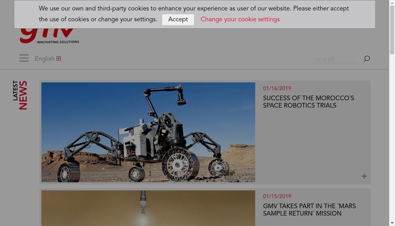 Capture d'écran du site de Gmv Innovating Solutions