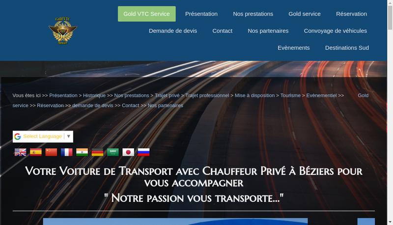 Capture d'écran du site de Gold Vtc Service