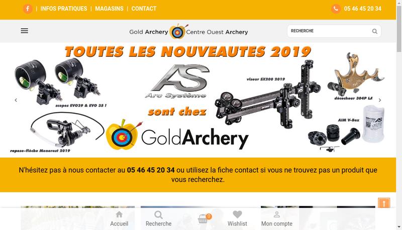 Capture d'écran du site de Centre Ouest Archery