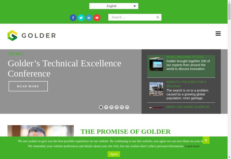 Capture d'écran du site de Golder Associates