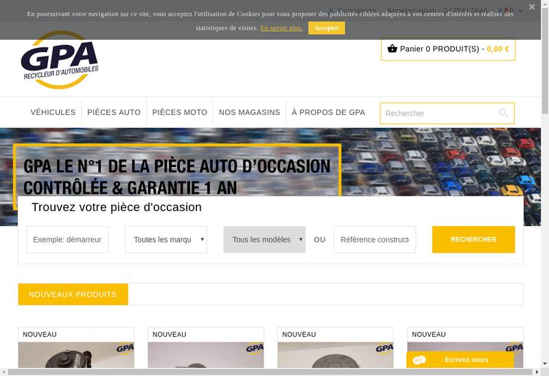 Capture d'écran du site de Geant Pieces Autos