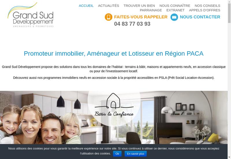 Capture d'écran du site de Grand Sud Developpement