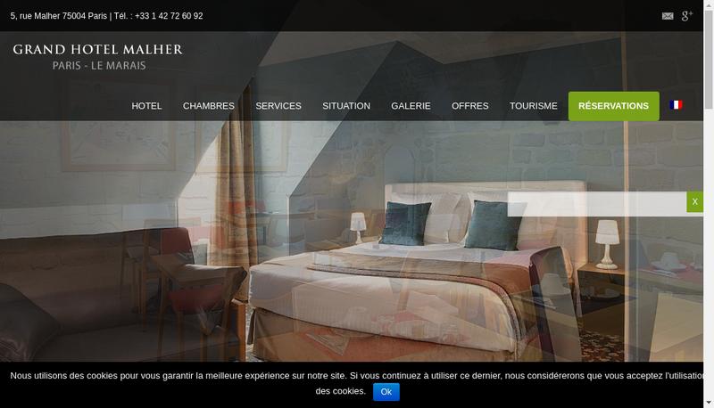 Capture d'écran du site de Grand Hotel Malher