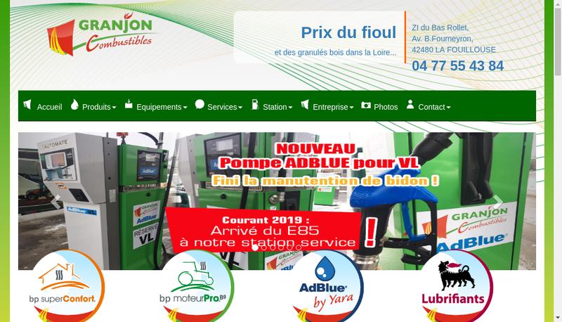 Capture d'écran du site de Granjon Combustibles