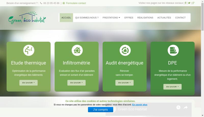 Capture d'écran du site de Green Eco Habitat