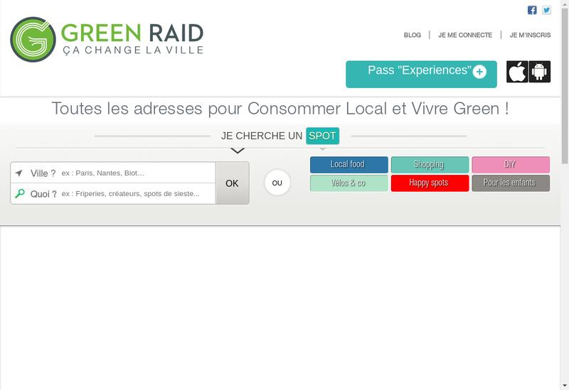 Capture d'écran du site de Green Raid