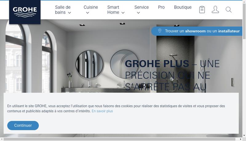 Capture d'écran du site de Grohe SARL
