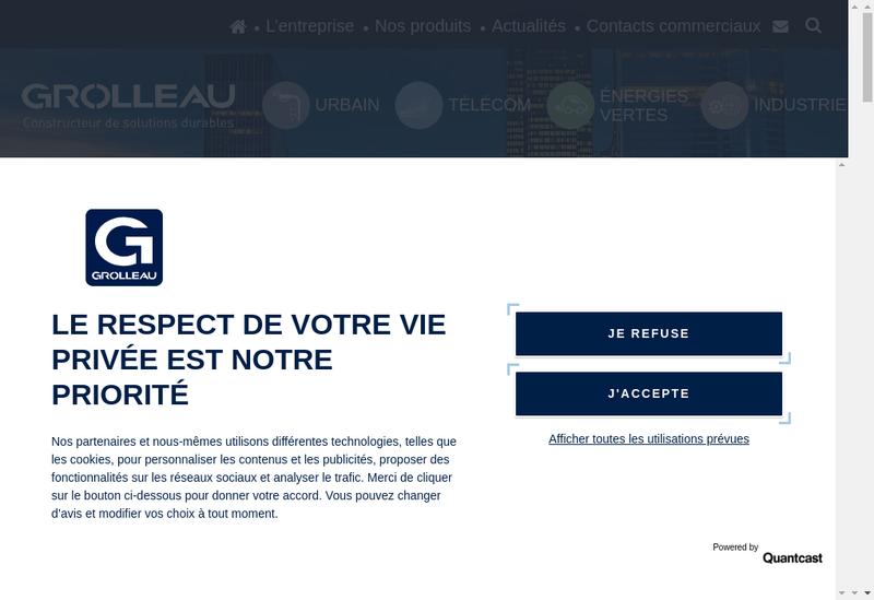 Capture d'écran du site de Grolleau